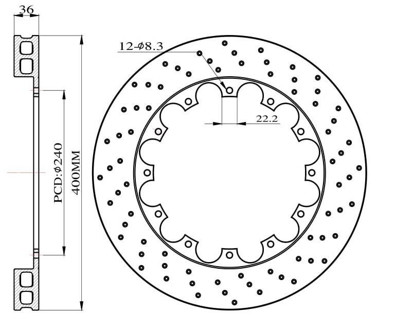 Tarcze hamulcowe nawiercane do zestawu Big Brake 400mm 2011+ - GRUBYGARAGE - Sklep Tuningowy